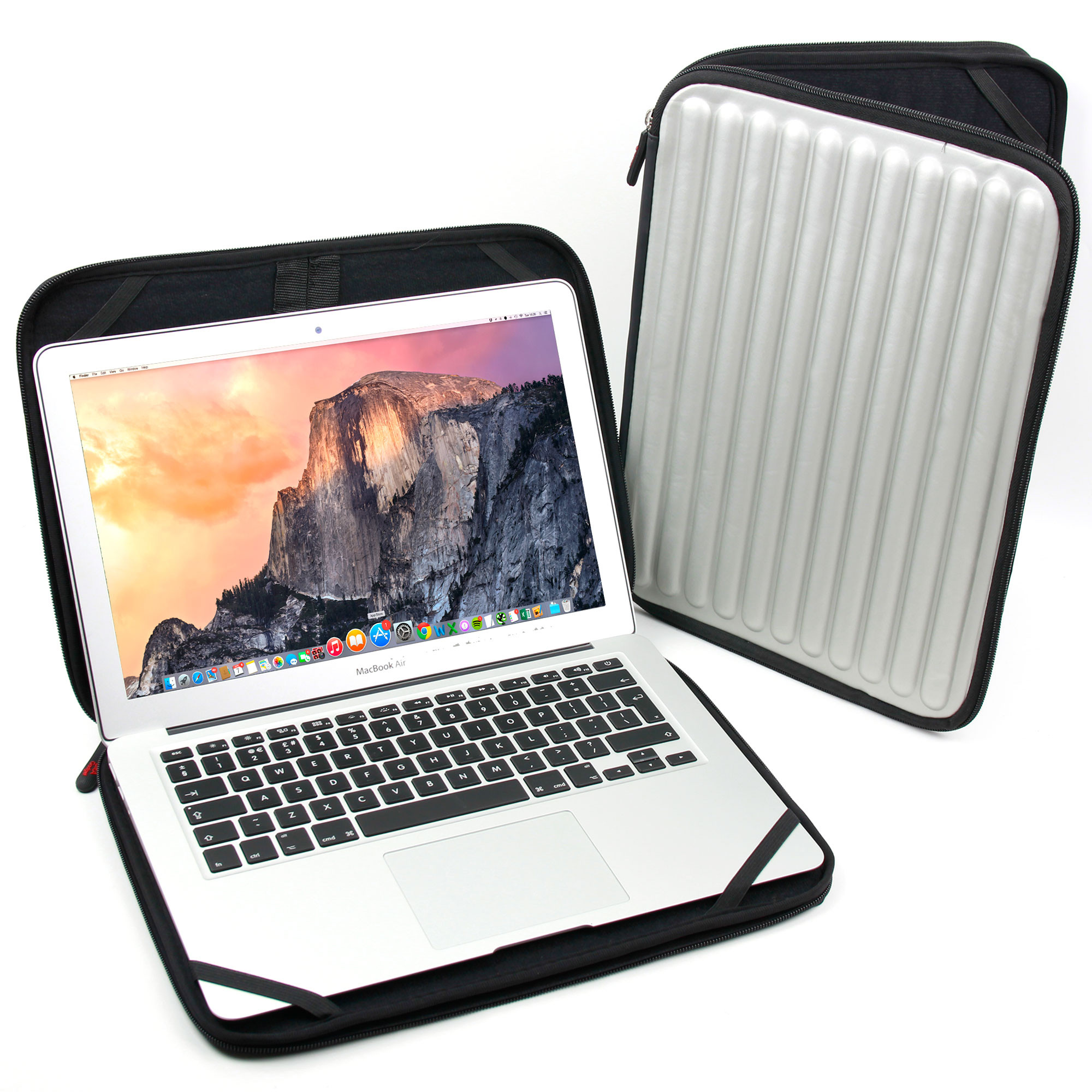 silver memory foam zipped cover case sleeve for 13 inch apple macbook air pro ebay. Black Bedroom Furniture Sets. Home Design Ideas