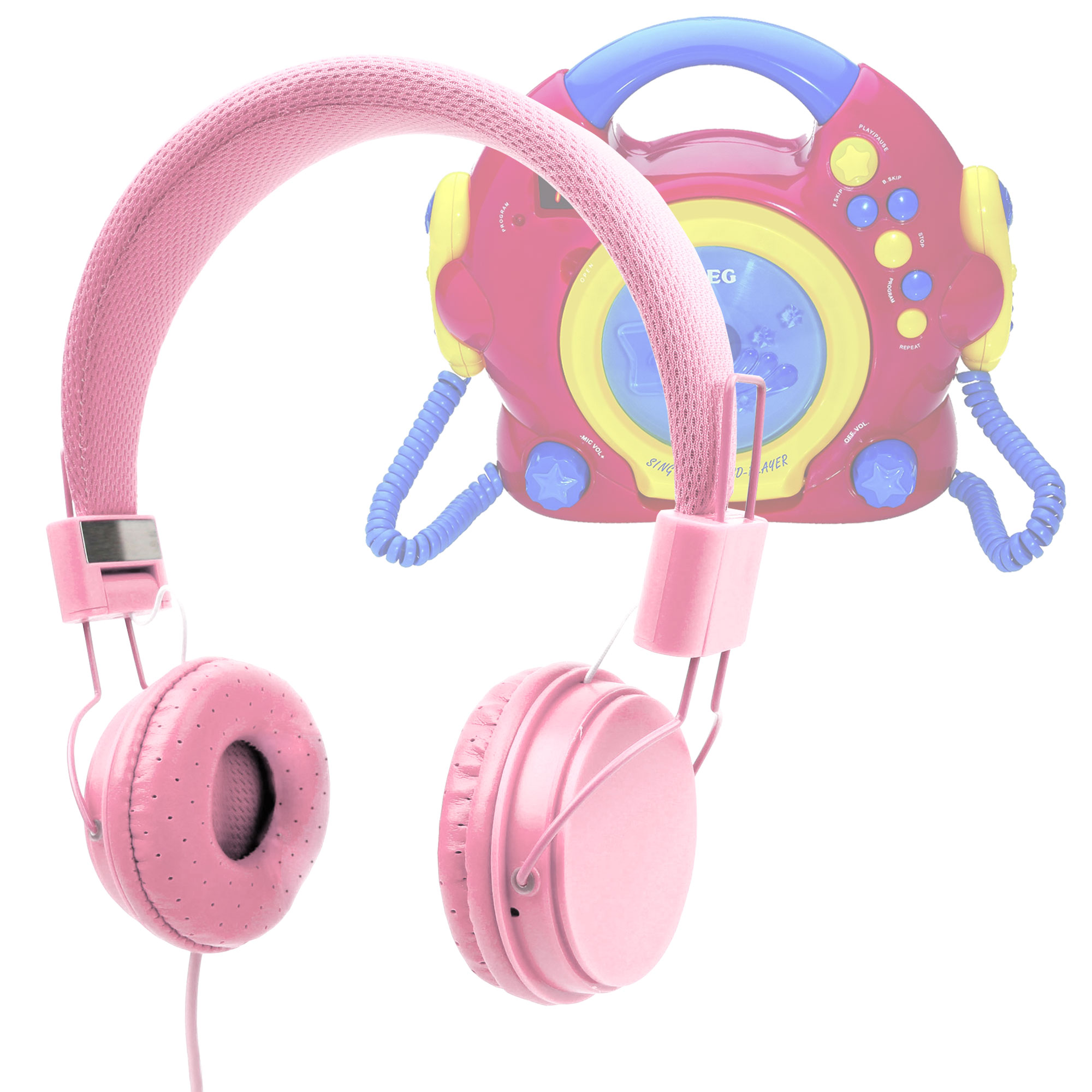 casque rose enfant pour aeg lecteur cd portable enfants cdk 4229 sing along ebay. Black Bedroom Furniture Sets. Home Design Ideas